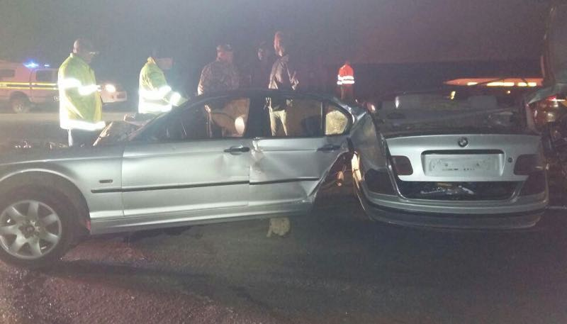 BMW splits in two in Secunda head-on collision