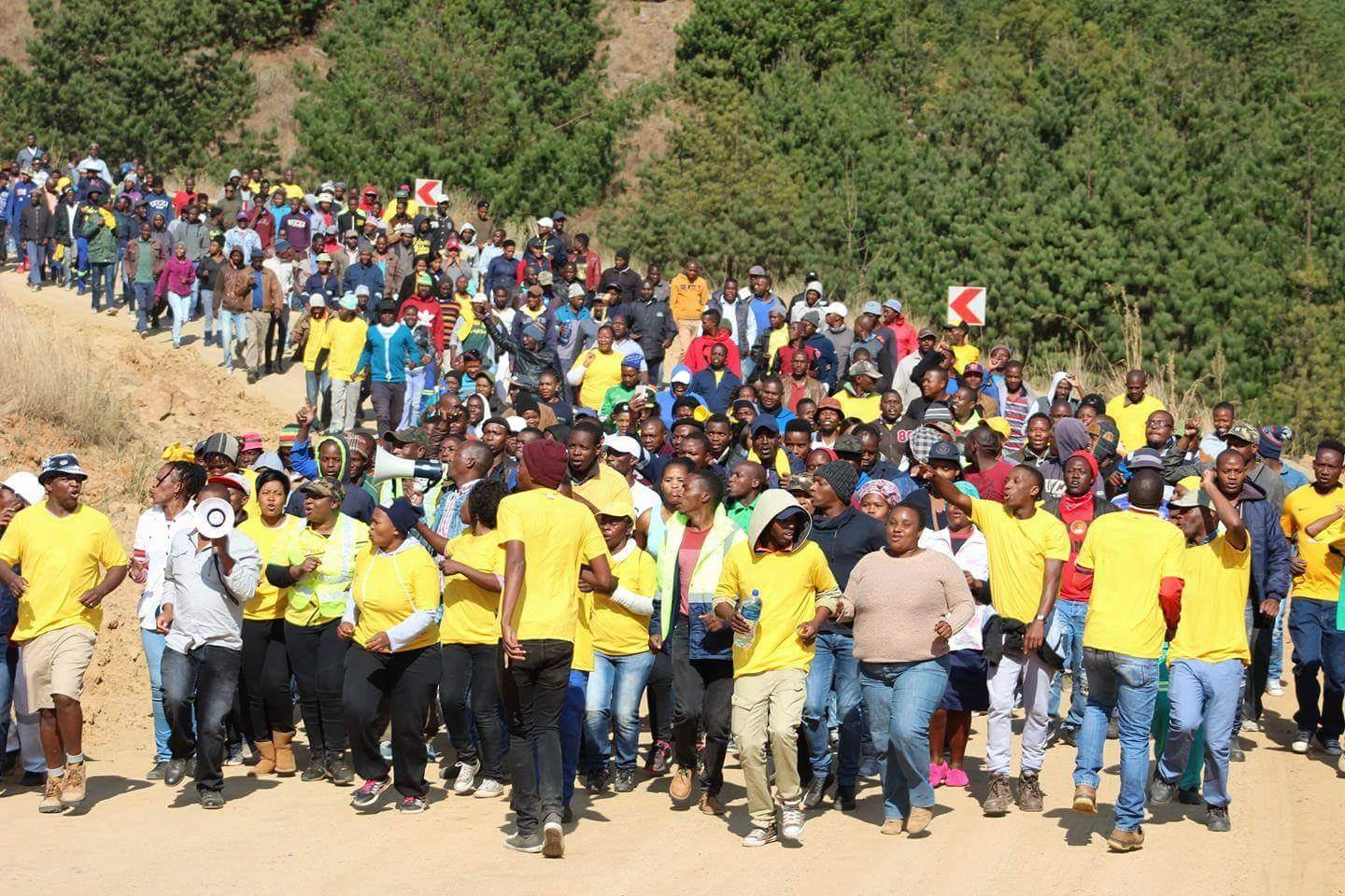 Marchers say Motsepe's mine is used as SANCO's source of funds in 'power struggle'
