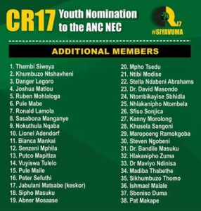 CR17 list wants Nhlakanipho Zuma as NEC member