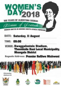 The Women's Month celebration at the Kwaggafontein stadium this Saturday will begin with a Healthy Walk before Premier Refilwe Mtsweni addresses the gathering.