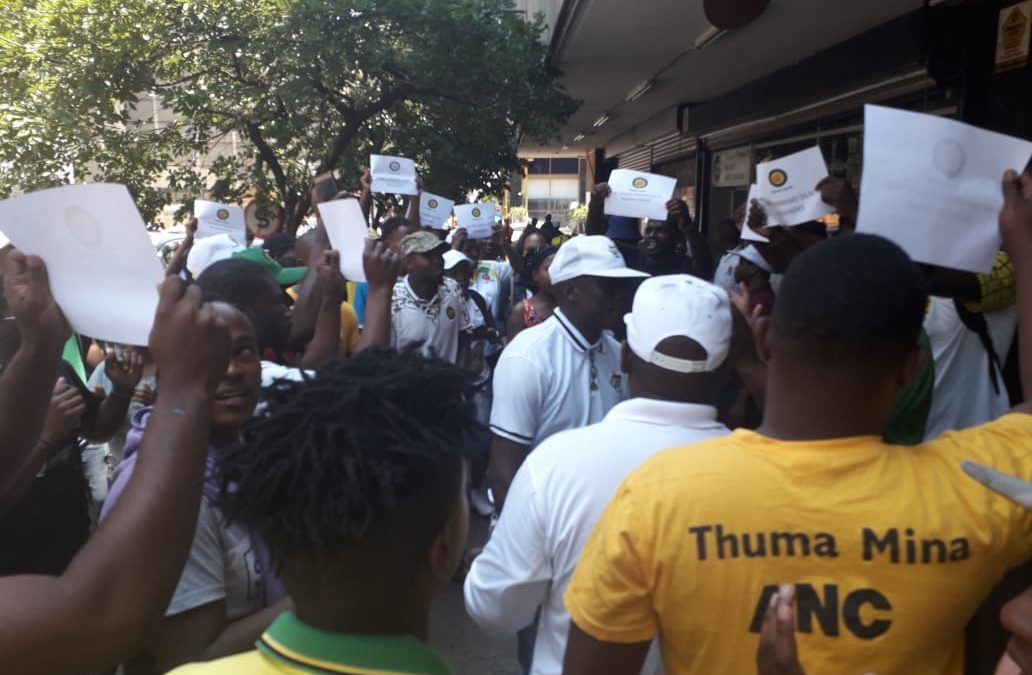"WATCH: Mokako ""frustrated"" branches picket outside Luthuli House"