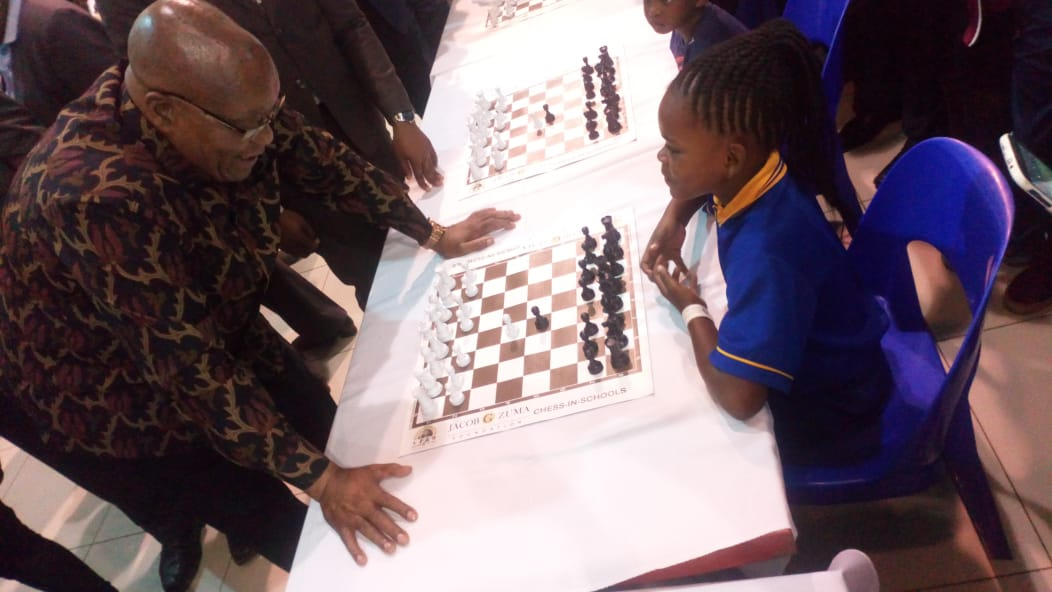 Middelburg's Amahle Zulu plays Zuma at chess tournament